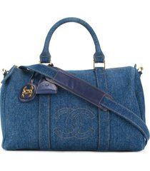 chanel pre-owned 1996-1997 boston 2way travel bag - blue
