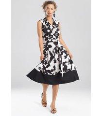 natori anemone garden sleeveless dress, women's, black, cotton, size m natori