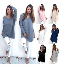women fashion autumn winter dress loose knitted oversized baggy sweater blue