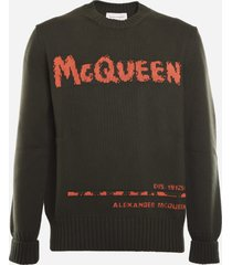 alexander mcqueen cotton sweater with contrasting logo print