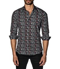 graphic cotton button-down shirt