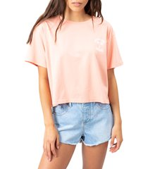 women's rip curl hang looose crop graphic tee, size x-large - coral