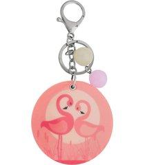 chaveiro com espelho ania store flamingo rosa
