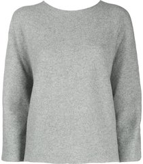 peserico sweater with silk arm - grey