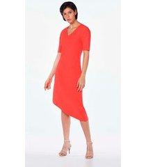 vestido assimetrico decote v canelado coral p