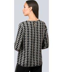 blus alba moda svart::crèmevit