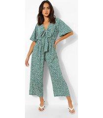 bloemen culotte jumpsuit met strik, green