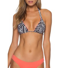 women's becca animal kingdom reversible triangle bikini top, size small - white