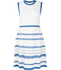 alberta ferretti two-tone embroidered sleeveless dress - white