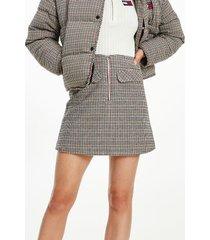 tommy hilfiger organic cotton check mini skirt smooth stone / multi check - xl