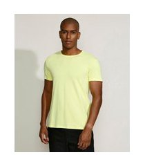 camiseta masculina básica com elastano manga curta gola careca amarelo claro