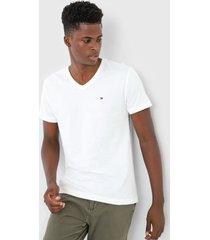 camiseta tommy hilfiger logo off-white - off white - masculino - algodã£o - dafiti