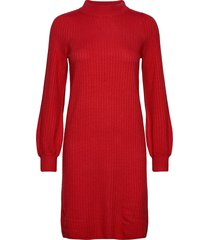 dress knitwear knälång klänning röd taifun