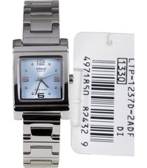 reloj casio para mujer ltp-1237d analogo  dial cuadrado azul con banda de acero inoxidable