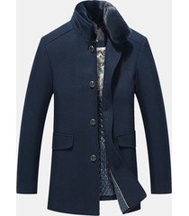 uomo giacca invernale trench coat slim fit di lana pesante a metà lunghezza di stile business casual