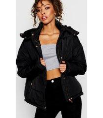 rose gold trim puffer jacket, black