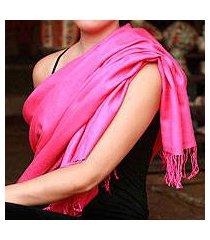 wool and silk shawl, 'hot pink paradise' (india)
