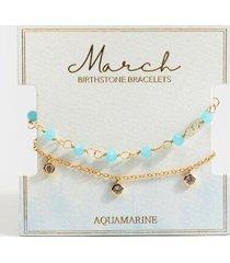 march birthstone bracelet set - light blue