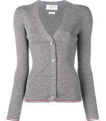 thom browne rwb-stripe cardigan - grey