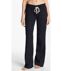 women's roxy oceanside linen blend beach pants, size x-large - black