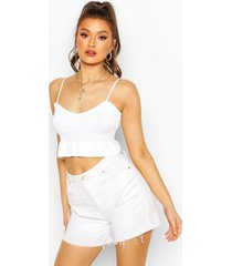 knitted ruffle crop top, white
