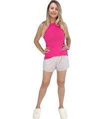 pijama feminino rosa com listras salmão