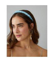 amaro feminino tiara detalhe franzido, azul claro