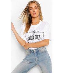 alaska t-shirt met print en wassing, wit