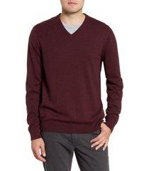 men's nordstrom men's shop cotton & cashmere v-neck sweater, size 2xl - burgundy