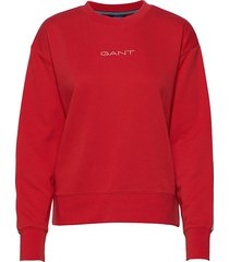 d1. 13 stripes c-neck sweat sweat-shirt tröja röd gant