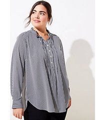loft plus striped pintucked tunic blouse