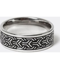 river island mens silver colour embossed band ring