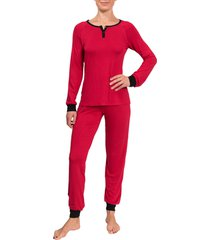 women's everyday ritual henley jogger pajamas, size x-small - red