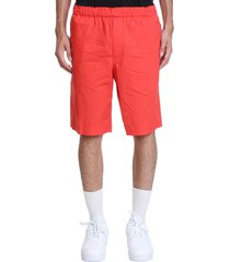 helmut lang pull on short shorts in red cotton