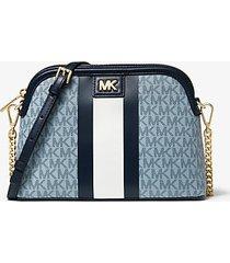 mk borsa a tracolla grande bombata a righe con logo - blu pallido/navy (blu) - michael kors