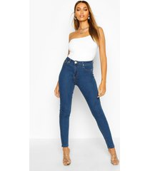high waist skinny jeans, mid blue