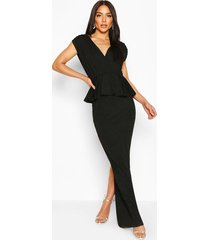 pleated shoulder peplum waist maxi dress