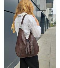 brązowa skórzana torba z frędzlami