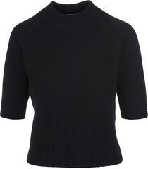 fedeli woman black cashmere pullover with half sleeves