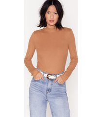 womens get fit right ribbed high neck bodysuit - camel