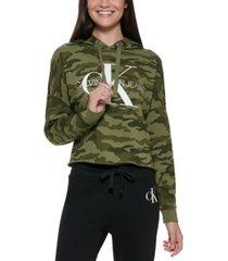calvin klein camo-print graphic hoodie