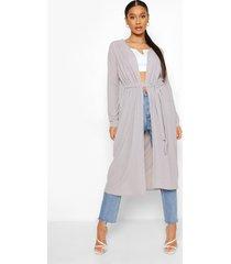 geribbelde duster jas met strik, ash grey