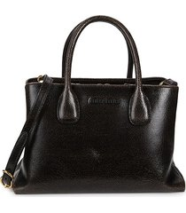 miu miu women's crackled leather satchel - black