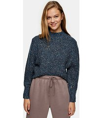 blue pointelle neppy knitted sweater - blue