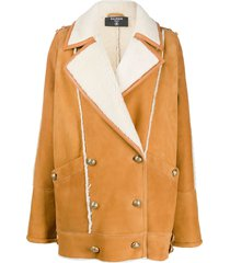 balmain shearling double-breasted short coat - neutrals