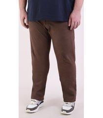 calça de sarja masculina plus size reta marrom
