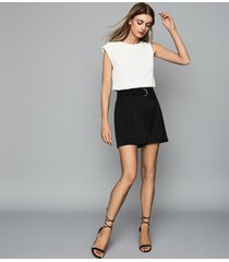 reiss elaine - belted shorts in black, womens, size 10