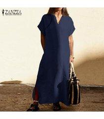 zanzea las mujeres de manga corta con cuello en v vestido maxi largo camiseta del verano vestido vestido de tirantes plus -azul marino