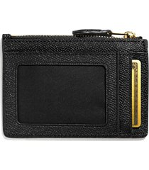 coach women's crossgrain mini skinny id wallet - black