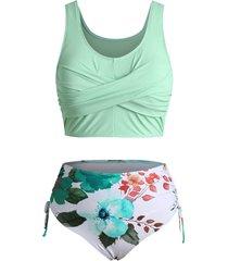 ribbed cinched twist floral tankini swimwear